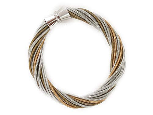 The Island Pearl 20 Strand Twisted Piano Wire Bracelet Bronze,Silver, Gold and Charcoal