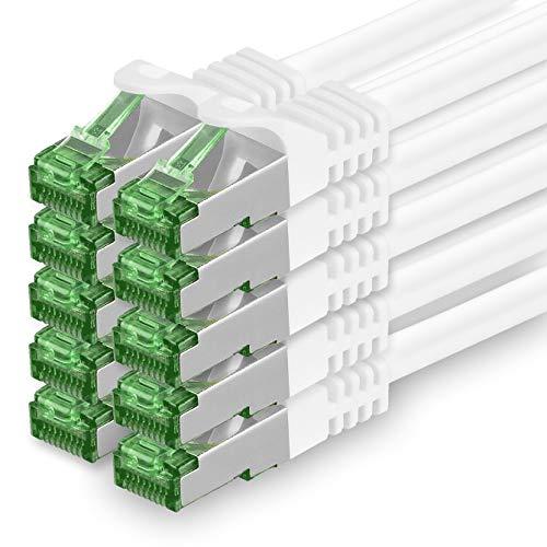 Cat7 Netzwerkkabel 0,5m - Weiß - 10 Stück - Cat 7 Ethernetkabel Netzwerk LAN Kabel Rohkabel 10 Gigabit s - SFTP PIMF LSZH - Patchkabel Rohkabel mit Rj 45 Stecker Cat.6a