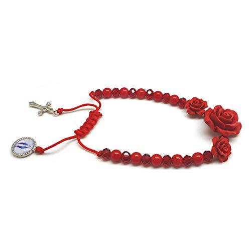 DELL'ARTE Artículos religiosos, pulsera rosario elástica de cristal de 6 mm con rosas y medalla