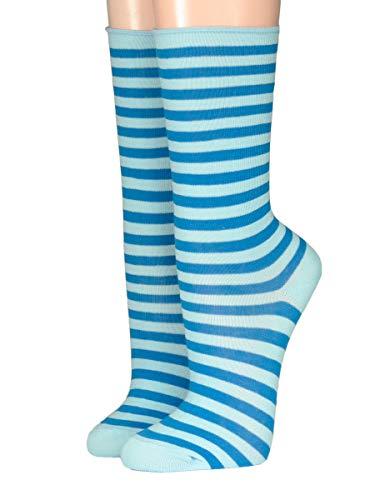 CRÖNERT Socken Longsocks Söckchen im Design Kieler Ringel Socken 18808 (35/38, hellblau)