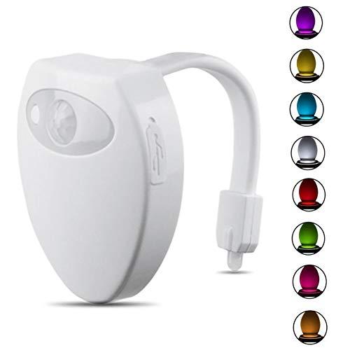 Toilet Led-nachtlampje, bewegingsmelder, wc-licht, 8 wisselende kleuren, USB-oplaadbare achtergrondverlichting voor toilet bowl kinderen
