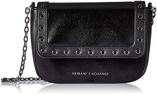 Armani Exchange Damen Cross-body Bag Umhängetasche, Schwarz (Nero), 13.0x6.0x19.0 cm