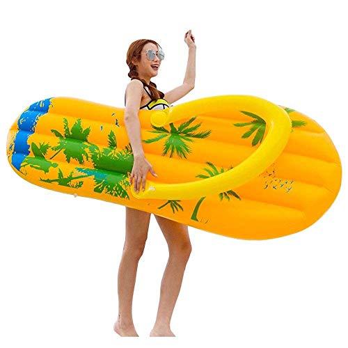 QYWSJ Flip-Flop Schwimmende Reihe, Persönlichkeit Hausschuhe Aufblasbare Auslaufsicher, Schwimmbett Schwimmring, PVC Wasser Aufblasbare Schwimmende Reihe Spielzeug Luftbett (160 * 60 * 20cm)