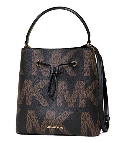 Michael Kors Suri Large Bucket Bag Drawstring Graphic Logo Brown MK Black Multi