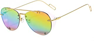 QWKLNRA - Gafas De Sol para Hombre Marco De Color Dorado Lente Colorida Ultraligero Steampunk Against-UV Gafas De Sol Modernas Antirrayas Moda Punk Shades Uv400 Ciclismo Viajes Pesca Gafas De Sol Al A