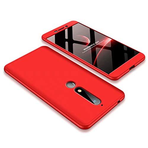 TXLING Custodia per Nokia 6 2018/Nokia 6.1 Cover 360°Copertura Protettiva Case PC Guscio Duro Anti Shock Anti-graffio Bumper Caso Rosso+ (1 Pezzi) Pellicola Protettiva