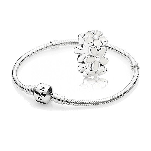 Pandora [A] Original Geschenkset - 1 Silber Armband 590702HV-19 + 1 Silber Zwischenelement 791495EN12 Liebliche Gänseblümchen