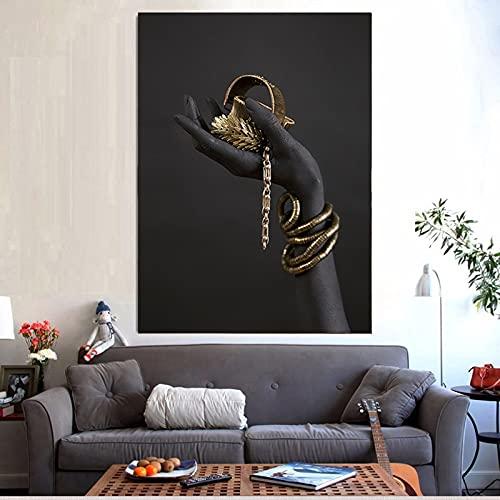 Pulsera de mano negra y dorada, pintura al óleo sobre lienzo, carteles e impresiones, Cuadros, imágenes artísticas de pared para sala de estar 40x60 CM (sin marco)