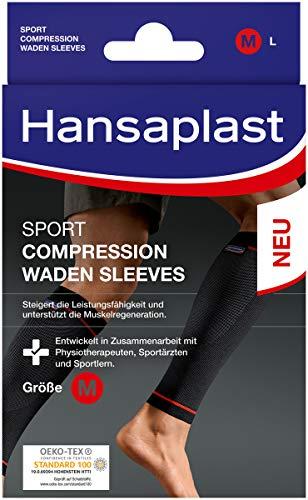 Hansaplast Sport Compression Wear Waden Sleeves, Wadenbandage zur Unterstützung der Muskulatur, Waden Kompressionsstrümpfe fördern die Muskelregenration, 1 Paar, Größe S/M