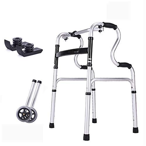 FKDEWALKER Aluminium Folding Lightweight Walking Frame,Walking Mobility Aid,Walker with Wheels