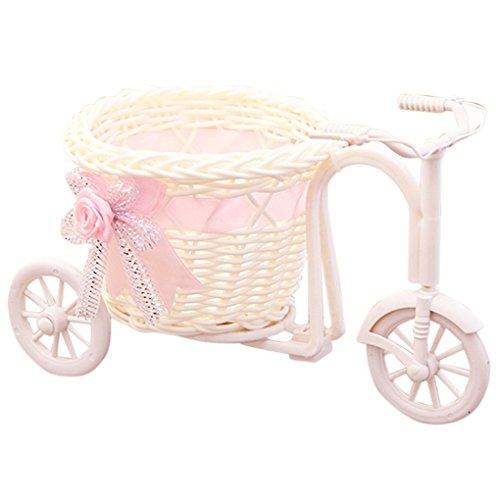 Kineca Diseño de la Bicicleta Canasta de Flores Maceta Florero Decoración para el hogar Soporte de la Planta para la Fiesta de Bodas Salón Mesa Decoración del jardín (Rosa)