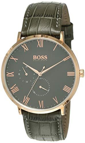 Hugo BOSS Reloj Multiesfera para Hombre de Cuarzo con Correa en Cuero 1513619, Gris