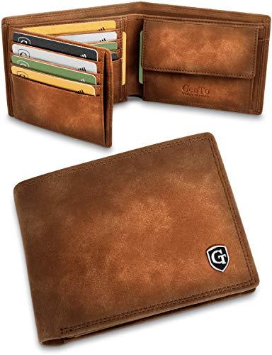 GenTo Manhattan Große Geldbörse mit Münzfach - TÜV geprüfter RFID, NFC Schutz - geräumiges Portemonnaie - Geldbeutel Herren u. Damen (Hellbraun - Soft, Mit vielen Kartenfächern)