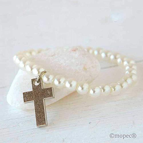 Pulsera de perlas blancas con cruz de metal. Lote de 12