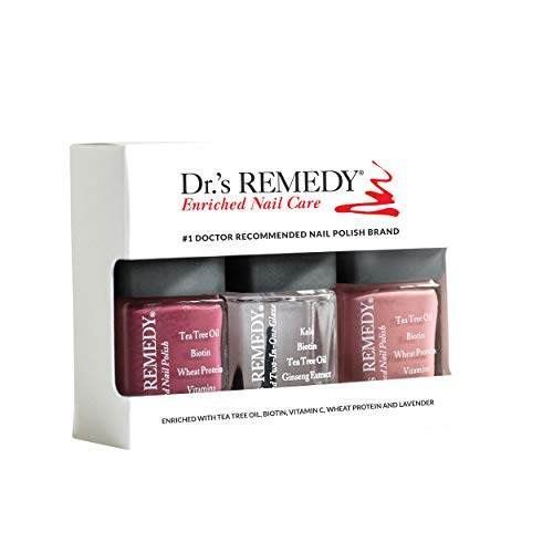 Dr.'s Remedy All Natural Nail Polish ANNIVERSARY KIT Organic Non Toxic Toenail Treatment 3 Piece Nail Polish...