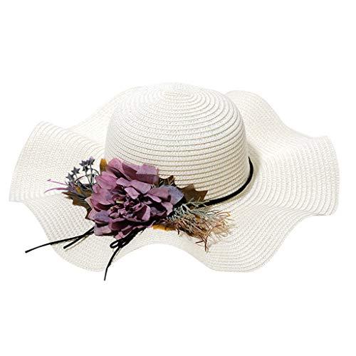 BOLUOBAO Chapeau De Paille Femme Pliable Fleur Large Bord Casquettes Chapeaus De Paille Capeline Été Anti-Soleil Vacances Plage (Circonférence de la tête(Environ 57cm/22.4), Blanc)