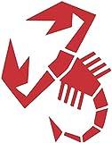 3 pezzi Adesivo Stickers Decalcomania Scorpione Abarth Tuning Adesivi Auto decorazione Sport Stripes - 2 scorpioni 20 cm + 1 logo 16,5 cm rosso