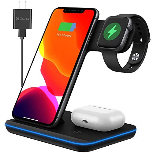 Any Warphone 3 in 1 Wireless Charging Station for Latest Airpods iPhone and iWatch, Compatible for iPhone 11/12 Pro Max/X/XS Max/8 Apple Watch Charger 5/4/ 3/2 /1 Airpods 2/3