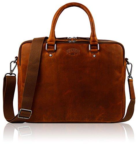 Klondike 1896 Echtleder Businesstasche \'Earl\', Grosse und praktische Aktentasche für Damen und Herren, Cognac