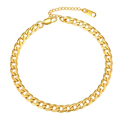 Gold Cuban Link Anklets For Women Men Jewelry Summer Beach Foot Chain Anklet Stainless Steel Womens Ankle Bracelets