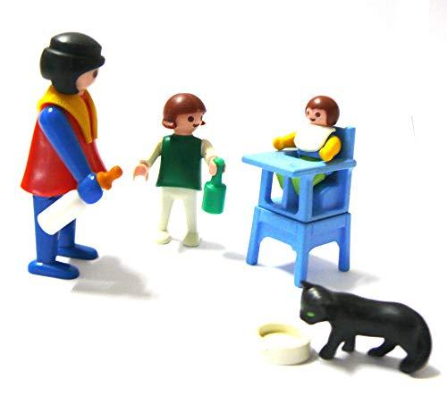 Playmobil ® Mutter Tochter und Baby mit Kindersitz Babyfläschchen und Katze