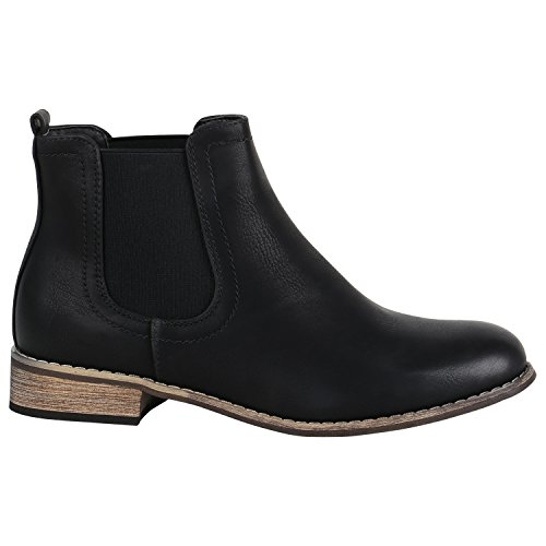 Gefütterte Damen Schuhe Chelsea Boots Kunstleder Stiefeletten 150451 Schwarz Carlet 39 Flandell