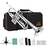Eastrock Trumpet Standard Brass Bb Nickel Plated Trumpet Instrument with Hard Case, Five Legs Trumpet Stand,Gloves, 7C Mouthpiece and Valve Oil for Student Beginner
