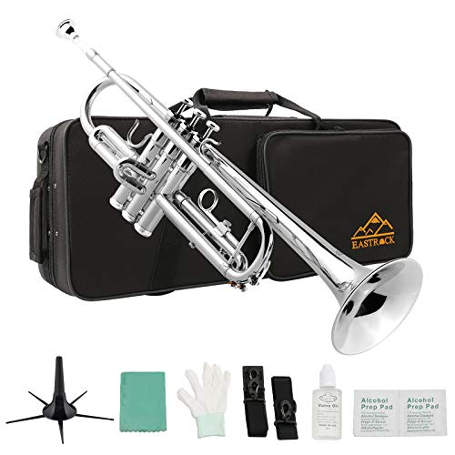 Eastrock Trumpet Standard Brass Bb Nickel Plated Trumpet Instrument with Hard Case, Five Legs Trumpet Stand,Gloves, 7C Mouthpiece, Valve Oil and Trumpet Cleaning Kit for Student Beginner