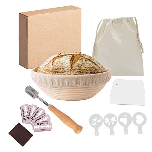 GURU 9 Inches Round Banneton Bread Proofing Basket with Wooden Bread Lame, Plastic Scraper, 4Pcs Stencils and Drawstring Cloth Bag for Baking - Proofing Baskets, Sourdough Banneton Basket for Bakers