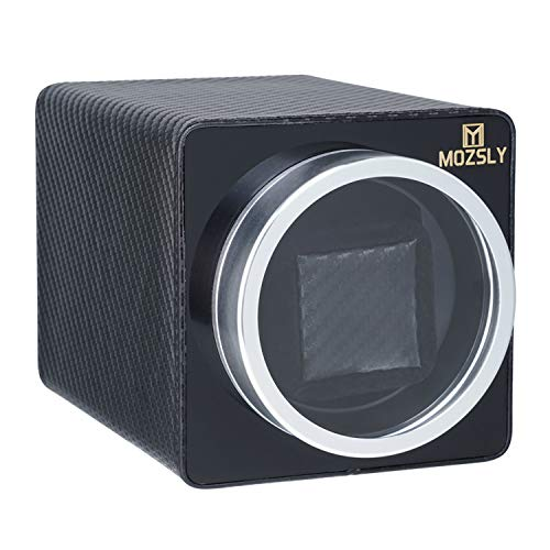 MOZSLY Single Watch Winder for Automatic Watches Battery Powered AC Adapter 12 Rotation Modes with Quiet Mabuchi Motor Carbon Fiber