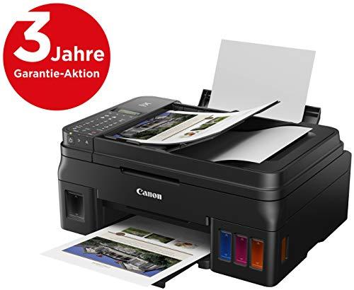 Canon PIXMA G4511 MegaTank printer navulbare inkjetprinter, multifunctioneel systeem, DIN A4 (scanner, kopieerapparaat, 4.800 x 1.200 dpi, ADF, WiFi, gr.tanks, lage kosten/pagina) zwart