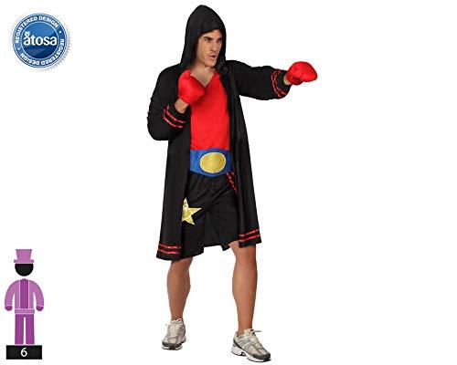 Atosa 59360 Disfraz Boxeador M-L Hombre Negro, color