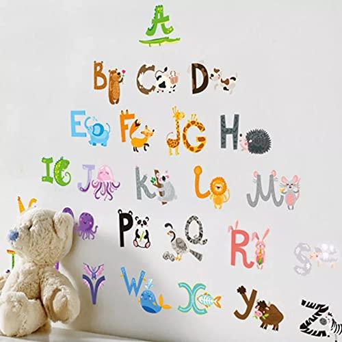 26 letras A-Z alfabeto y animales pared Sticke decoración del hogar inglés vinilo Mural pegatinas calcomanías guardería para decoración de habitación de niños