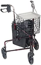 Drive Medical 3 Wheel Rollator, Flame Red