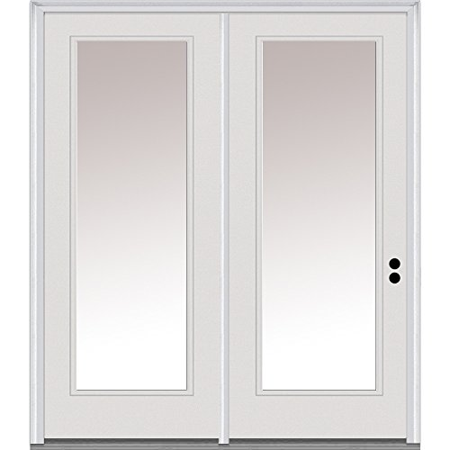 National Door Company Z001623L Steel, Primed, Left-Hand Inswing, Center Hinged Patio, Clear Glass Full Lite, 63