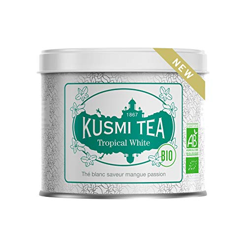 Kusmi Tea - Thé Blanc Bio Tropical White - Thé blanc saveur mangue passion - Boîte Thé Métal 90 g - Environ 40 Tasses - Idéal en thé glacé