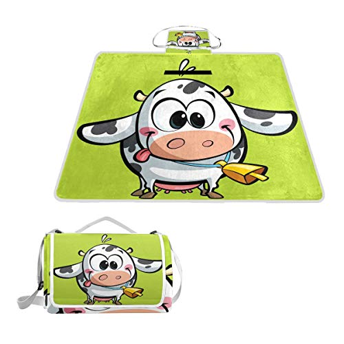 GEEVOSUN Rectangle Waterproof Picnic Blanket,Cartoon Baby Cow Big Cowbell Having,Portable Folding Indoors Rug Outdoors Mat for Travel Hiking Camping Park