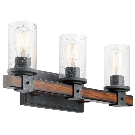 Kichler Barrington 3-Light 22-in Distressed Black and Wood Tone Cylinder Vanity Light at Lowes.com