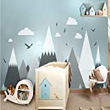 Gray Cream Mountains Wall Sticker Home Decor for Kids Room Nursery - Pine Trees Clouds Beautiful Art Murals Decal