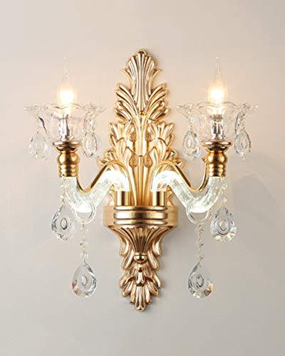 YHNJI Apliques de luz de Pared de Pantalla de Cristal de diseño de Lujo Dorado para Dormitorio, Sala de Estar, Comedor, Aplique de Pared, Lámpara de Pared de Estilo Dorado (Dorado)