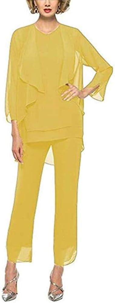 Mother of Bride Pant Suits 3 Pieces Plus Size Chiffon Jacket Outfit Plus Size