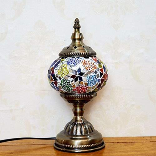 KLDDE Turkish Retro Mosaic Table Lamp, Tiffany StyleTable Lamp, Romantic Bedside Night Light, Metal Glass Decorative Lamp for Restaurant Cafe Living Room Bedroom (Color : B)