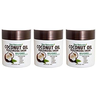 Lot of 3 Coconut Oil Cream 6 Oz/ea Coconut Oil Moisturizing Cream Vitamin E Dry Skin by Spa naturals