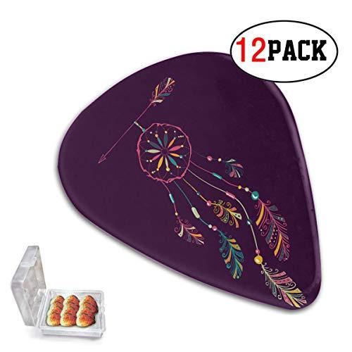 Paquete de 12 púas de ukelele bonitas con atrapasueños de indios nativos americanos y púas de ukelele Han para niñas, púas de guitarra delgadas/medianas/pesadas, adecuadas para bajo, gui