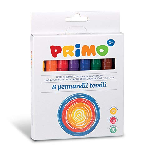 Morocolor PRIMO, Couleurs pour tissus, 8 feutres pour enfants Ø 4.1mm, feutres pour enfants pour tissu, marqueurs permanents pour tissus, couleurs vives et lumineuses, Made in Italy.