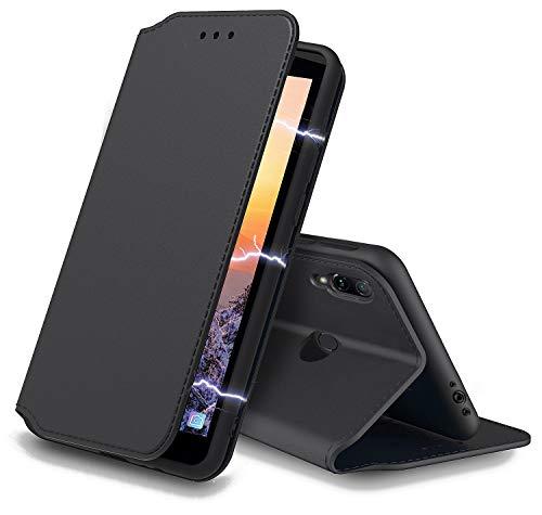 AURSTORE für Xiaomi Redmi Note 7 Hülle Handyhülle Xiaomi Redmi Note 7 hüllen Tasche Leder Flip Hülle Brieftasche Etui Schutzhülle Cover für (Redmi Note 7 (6,3 Zoll), Schwarz)