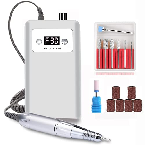 Nail Drill Cordless Rechargeable Portable Acrylic Nails Gel Polish Kit for Beginners,30000RPM File Machine Exfoliating Manicure Pedicure Tools for Salon Use Home DIY