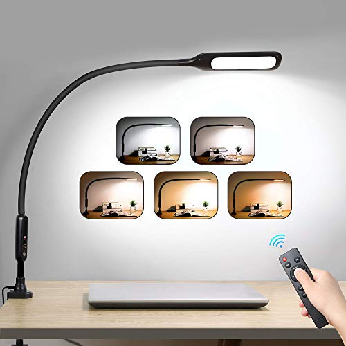 LED Desk Lamp Flexible Gooseneck with Clamp, Swing Arm Lamp...