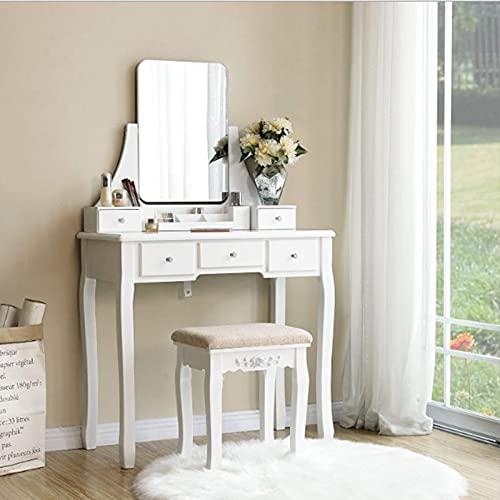 Conjunto de mesa de tocador, conjunto de mesa de tocador Mesa de cosmética Mesa de maquillaje con con gran espejo sin marco de 5 cajones Taburete acolchado para vestidor de dormitorio, Dormitorio