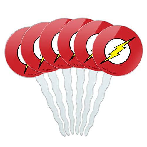 GRAPHICS & MORE The Flash Lightning Bolt Logo Cupcake Picks Toppers Decoration Set of 6
